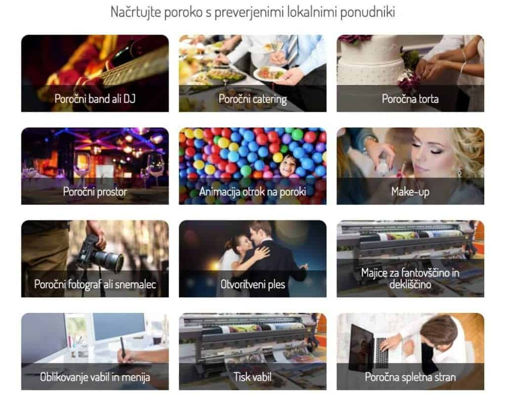 Iskanje ponudnikov storitev - Omisli.si/poroko